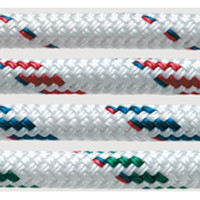 New England Ropes T900 rope with polyester cover and blended core of Dyneema SK75 and Technora shown in white, red fleck, blue fleck, and green fleck.